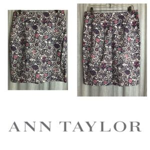 NEW Ann Taylor Paisley Pink/Blue Skirt Size 8
